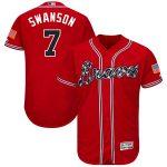 Majestic Dansby Swanson Atlanta Braves Scarlet Alternate Authentic Collection Flex Base Player Jersey