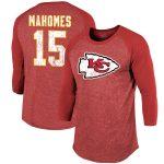 Majestic Threads Patrick Mahomes Kansas City Chiefs Red Player Name & Number Raglan Tri-Blend 3/4-Sleeve T-Shirt