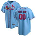 Nike St. Louis Cardinals Light Blue Alternate 2020 Replica Custom Jersey