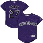 Majestic Trevor Story Colorado Rockies Youth Purple Alternate Official Cool Base Replica Player Jersey