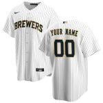 Nike Milwaukee Brewers White/Navy Alternate 2020 Replica Custom Jersey