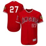 Majestic Mike Trout Los Angeles Angels Scarlet 2017 Spring Training Authentic Flex Base Player Jersey
