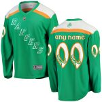 Fanatics Branded New York Rangers Green St. Patrick's Day Home Replica Custom Jersey