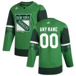 adidas New York Rangers Green 2020 St. Patrick's Day Custom Jersey