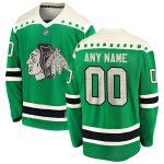 Fanatics Branded Chicago Blackhawks Green 2020 St. Patrick's Day Replica Custom Jersey