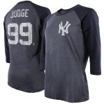 Majestic Threads Aaron Judge New York Yankees Women's Navy 3/4 Sleeve Name & Number Raglan T-Shirt