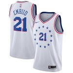 Nike Joel Embiid Philadelphia 76ers Youth White 2018/19 Swingman Jersey - Earned Edition