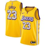 Nike LeBron James Los Angeles Lakers Yellow 2019/20 Finished Swingman Jersey - City Edition