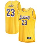 Fanatics Branded LeBron James Los Angeles Lakers Youth Gold 2018/19 Fast Break Replica Jersey - Icon Edition