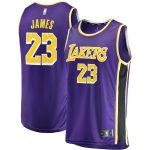 Fanatics Branded LeBron James Los Angeles Lakers Youth Purple 2018/19 Fast Break Replica Jersey - Statement Edition