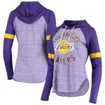Touch Los Angeles Lakers Women's Purple Season Opener Raglan Hoodie Long Sleeve T-Shirt