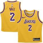 Nike Lonzo Ball Los Angeles Lakers Preschool Gold Replica Jersey - Icon Edition