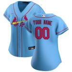Nike St. Louis Cardinals Women's Light Blue 2020 Alternate Replica Custom Jersey