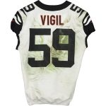 Fanatics Authentic Nick Vigil Cincinnati Bengals Game-Used #59 White Jersey vs. Pittsburgh Steelers on September 30, 2019 - 8 Tackles, 3 Ast