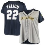 Christian Yelich Milwaukee Brewers Women's Gray/Navy Plus Size Jersey