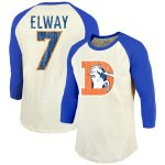 John Elway Denver Broncos Majestic Threads Vintage Inspired Player Name & Number 3/4-Sleeve Raglan T-Shirt - Cream/Royal
