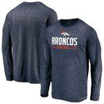 Majestic Denver Broncos Navy Iconic Engage Stack Raglan Long Sleeve T-Shirt