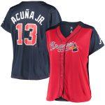 Ronald Acuna Jr. Atlanta Braves Women's Red/Navy Plus Size Jersey