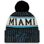 New Era Miami Marlins Black Primary Logo Sport Cuffed Knit Hat with Pom