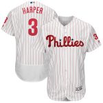 Majestic Bryce Harper Philadelphia Phillies White/Scarlet Home Flex Base Authentic Collection Player Jersey
