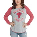 Touch by Alyssa Milano Philadelphia Phillies Women's Heathered Gray/Red Line Drive Raglan Long Sleeve T-Shirt