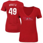 Jake Arrieta Philadelphia Phillies Women's Red Name & Number V-Neck T-Shirt