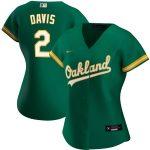 Nike Khris Davis Oakland Athletics Women's Green Alternate 2020 Replica Player Jersey