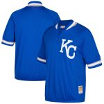 Mitchell & Ness Kansas City Royals Royal Cooperstown Collection Mesh Batting Practice Quarter-Zip Jersey
