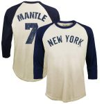 Majestic Threads Mickey Mantle New York Yankees Cream Softhand Cotton Cooperstown 3/4-Sleeve Raglan T-Shirt