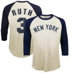 Majestic Threads Babe Ruth New York Yankees Cream Softhand Cotton Cooperstown 3/4-Sleeve Raglan T-Shirt