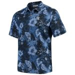 Tommy Bahama New York Yankees Navy Fuego Floral Short Sleeve Button-Up Shirt