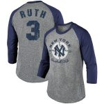 Babe Ruth New York Yankees Majestic Threads Cooperstown Collection Name & Number Tri-Blend 3/4-Sleeve T-Shirt - Gray/Navy